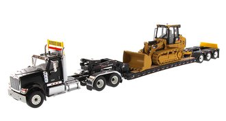 International HX520 Tandem Tractor w/XL 120 Trailer (Black) w/CAT 963K Track Loader Load