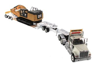 1:50 International HX520 Tandem Tractor w/XL 120 Trailer (White) w/CAT 349F LXE Hydraulic Excava