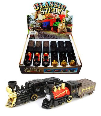 "1:64 Box of 6 - Classic Steam Engine w/Coal Tender (10"")"