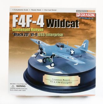 "Grumman F4F Wildcat USN VF-8, ""Black 20"", Donald Runyon, USS Enterprise, w/Display Plinth"
