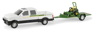 1:32 John Deere Dealer Pickup w/Flatbed Trailer & ZTrak Mower