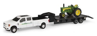 1:64 Ford F-350 Dually Pickup Truck w/John Deere 530 Tractor on Gooseneck 5th-Wheel Trailer