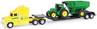 1:64 John Deere Hauler Semi w/Lowboy, John Deere Tractor & Cart