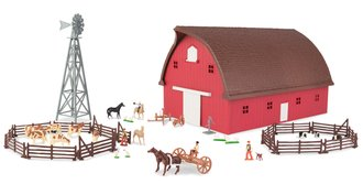 1:64 Gable Barn Playset w/Windmill, Fencing & Animals