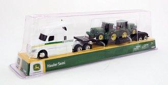 1:64 John Deere Freightliner w/Lowboy & Farm Tractors (2)
