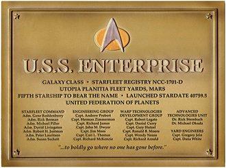 """Star Trek - Plaque - U.S.S. Enterprise """"NCC-1701-D"""""""
