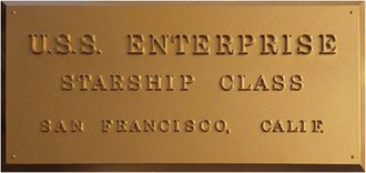 """Star Trek - Plaque - U.S.S. Enterprise """"NCC-1701"""""""