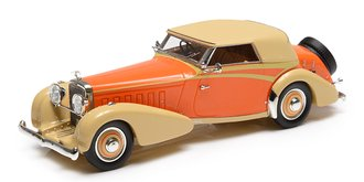 1:43 1934 Hispano-Suiza J12 Cabriolet (Closed Roof) (by Vanvooren) (Orange/Beige)