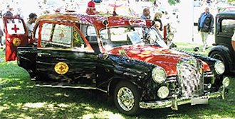 1954-1962 Mercedes-Benz 180D Ambulance by Miesen (Swing Doors in Back) (Red/Black)