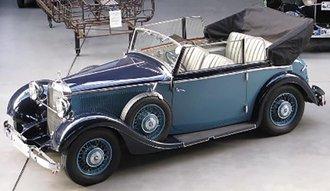 1934-37 Mercedes-Benz 290 W18 Cabriolet B (Open) (Side Windows Up) (Blue)