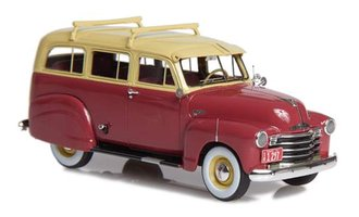 1949-53 Chevrolet Suburban w/Side Skirts & Single Rear Door (Maroon/Beige)