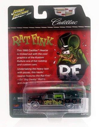 "ERROR 1:64 1966 Cadillac Hearse ""Rat Fink"" (Black/Green/Red) *** Backwards Blister Card ***"