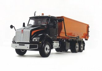 1:34 Kenworth T880S w/Tub-Style Roll-Off Container (Black/Orange)