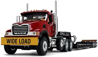1:34 Mack Granite w/Tri-Axle Lowboy Trailer (Cherry Red Cab/Black Lowboy)