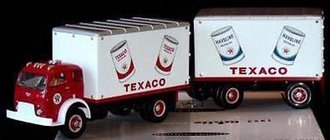 "1:34 1953 White 3000 Box Van w/Pup Trailer ""Texaco Motor Oil"""