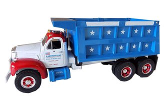 "1960 Mack B-Model Dump Truck ""American Rock & Ready Mix"" (White/Blue/Red)"