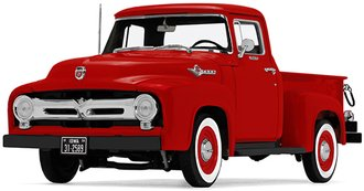 1:25 1956 Ford F-100 Pickup (Hi-Feature) (Vermillion Red)