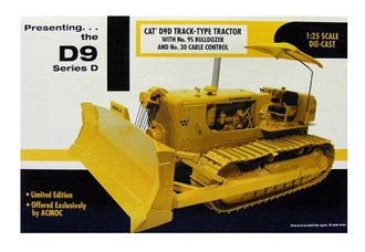 1:25 CAT D9D Track-Type Tractor w/No. 9S Bulldozer & No. 30 Cable Control (Yellow)