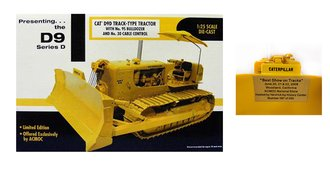 1:25 CAT D9D Track-Type Tractor w/No. 9S Bulldozer & No. 30 Cable Control (1 of 200) w/Plaque