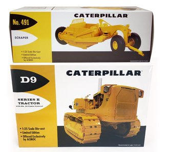 1:25 Caterpillar D9E Crawler w/No.29 Cable Control & CAT 491 Scraper (Yellow)