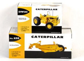 1:25 Caterpillar DW20 Tractor & CAT 456 Scraper (Yellow)