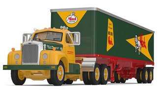 "1:64 Mack B-61 Day Cab w/40' Vintage Van Trailer ""Mack Trucks"" (Green/Yellow)"