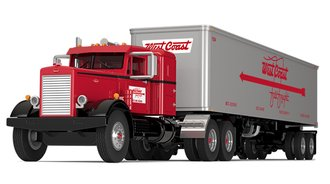 "1:64 Peterbilt 351 Sleeper w/40' Vintage Trailer ""West Coast Fast Freight"""