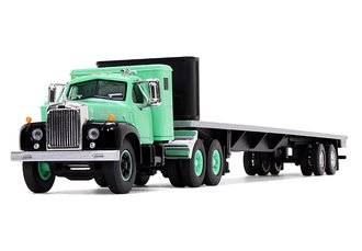 1:64 Mack B-61 Sleeper Cab w/48' Flatbed Trailer (Antique Green/Black)