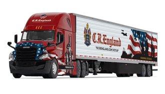 "1:64 Freightliner New Cascadia High-Roof Sleeper w/Skirted Reefer Trailer ""C.R. England Military"""