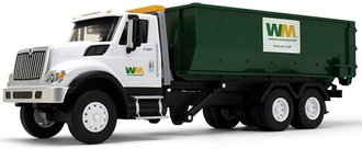 "1:20 International WorkStar w/Roll-Off Container ""Waste Management"" (ABS Plastic w/Lights & Sound)"