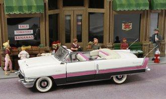 1:43 1955 Packard Caribbean Convertible (Pink/Black/White) w/2 Rear Antennas & Protectors