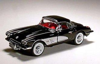 "1:43 1958 Chevrolet Corvette (Black) w/Tin (Special Edition) ""Open Road Classics"""