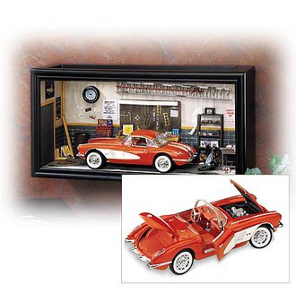Corvette Garage Diorama w/1958 Corvette Convertible