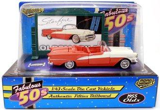 1955 Oldsmobile Convertible (Orange/White) w/Billboard *** Open Box ***