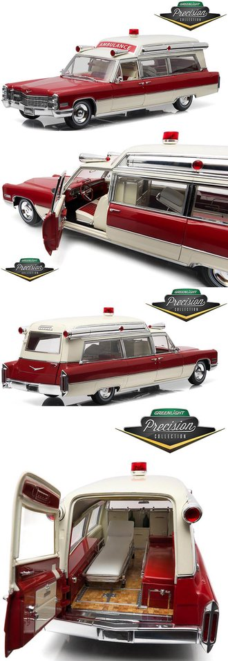"""1:18 Precision - 1966 Cadillac S&S 48"""" High Top Ambulance (Red/White)"""