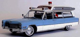"1:18 Precision - 1966 Cadillac S&S 48"" High Top Ambulance (Blue/White)"