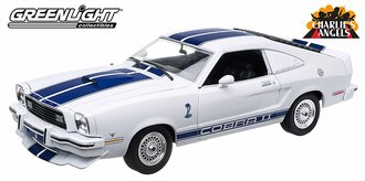 1:18 Charlie's Angels 1976 Ford Mustang Cobra II (White w/Blue Racing Stripes)