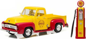 "1:18 1953 Ford F-100 ""Shell Oil"" w/Vintage Gas Pump"