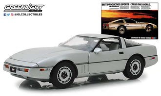 "1:18 1984 Corvette C4 (Silver) Vintage Ad Cars ""Best Production Sports Car in the World"""