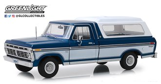 1:18 1975 Ford F-100 Pickup (Midnight Blue Poly/Wimbledon White) w/Deluxe Box Cover (Removable)