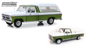 1:18 1976 Ford F-100 Pickup (Medium Green Glow Poly/Wimbledon White) w/Deluxe Box Cover (Removable)