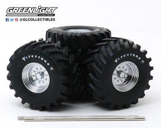 1:18 Kings of Crunch - 48-Inch Monster Truck Firestone Wheel & Tire Set