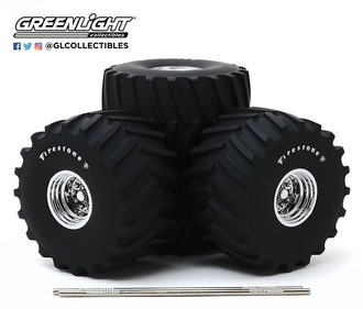 1:18 Kings of Crunch - 66-Inch Monster Truck Firestone Wheel & Tire Set