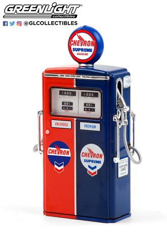 "1:18 Vintage Gas Pumps Series 9 - 1954 Tokheim 350 Twin Gas Pump ""Chevron Supreme"""