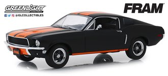 "1:24 1968 Ford Mustang GT Fastback ""FRAM Oil Filters"" (Black w/Orange Stripes)"