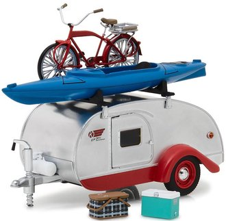 1:24 Teardrop Trailer (Silver w/Red Trim) Roof Rack, Bicycle, Kayak, Cooler & Picnic Basket