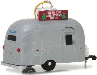 "1:64 Airstream 16' Bambi Holiday Ornament w/Hook Ring ""Fresh Cut Christmas Trees"" (Silver)"