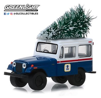 "1:64 1972 Jeep DJ-5 ""United States Postal Service (USPS)"" (Blue/White) w/Christmas Tree"