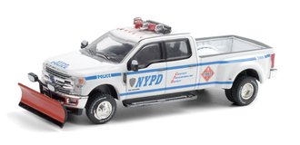 "1:64 2019 Ford F-350 Dually ""New York City Police Dept (NYPD) Class 3 Hazmat"" w/Snow Plow"