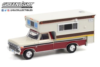 1:64 1974 Ford F-250 Camper Special w/Large Camper - Candy Apple Red & Wimbledon White